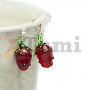 Glass earrings - strawberries