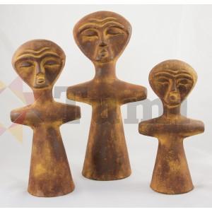 Mexico Ceramic Figures Afr - set of 3