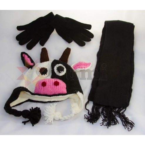 Animal hat - with matching gloves and scarf