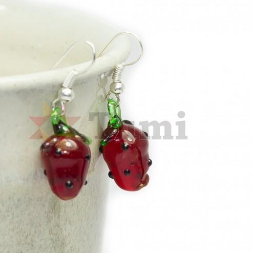 Glass earrings - strawberries