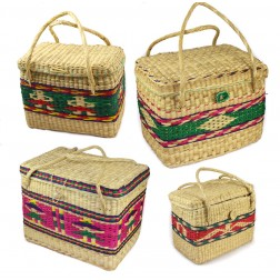 Colourful soft woven wicker basket with lid