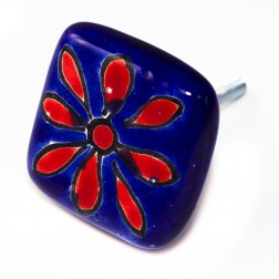 Doorknob - dark blue background with red
