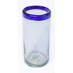 Hi-ball Tall Glass - Recycled - Blue Rim - 15cm