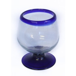 Brandy Glass - Recycled - Blue Rim - 10cm