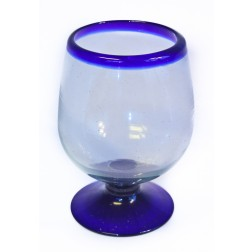 Brandy XL Glass - Recycled - Blue Rim - 14cm