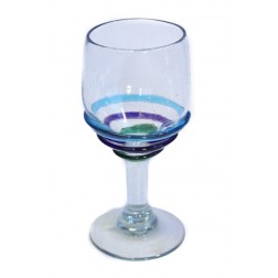 Wine Glass - Recycled - 3 colour ring - 15cm