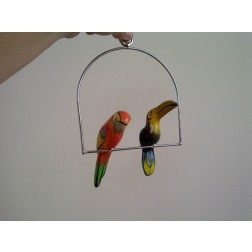 Mexico Small Double Hanging Parrots