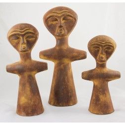 Mexico Ceramic Figures Afr - set of 3